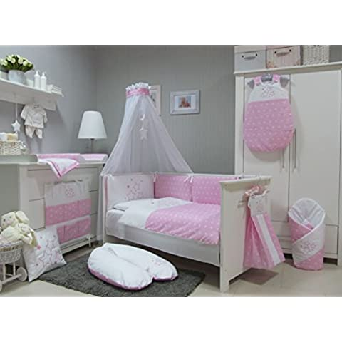 Babymajawelt Stars Juego de ropa de cuna, 4 piezas, apto para cunas de 140 x 70 cm, ropa de cama bordada, protectores de cuna y dosel con
