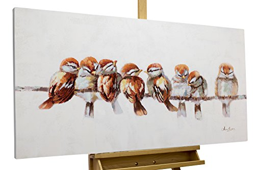 Vogel Leinwand Kunst (KunstLoft® Acryl Gemälde 'Happy Family Reunion' 120x60cm | original handgemalte Leinwand Bilder XXL | Vögel Heimat Bunt Parade Vintage | Wandbild Acrylbild moderne Kunst einteilig mit Rahmen)