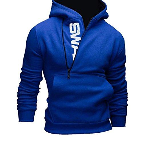 OverDose De manga larga para hombre sudadera con capucha Sudadera con capucha Tops Outwear la capa de la chaqueta (M, Azul)
