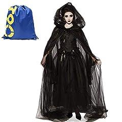 Idea Regalo - Costume da Strega Nero Halloween Cosplay,Travestimento di Sposa Fantasma Orrore Vestito dal Petto Pizzo Copricapo Veil Medioevo Vampiro Sacerdotessa Abiti Zombie Vestiti per Donne Adulte(Sposa,XXL)