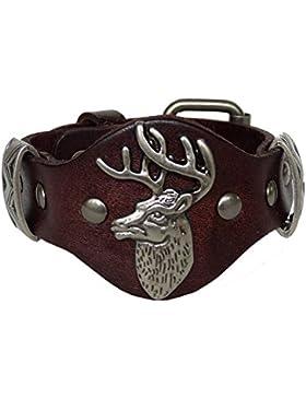 Trachtenschmuck Echt Leder Armband mit Nieten - Echtleder - für Dirndl & Lederhose - Hirschkopf
