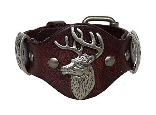 Trachtenschmuck Echt Leder Armband mit Nieten - Echtleder - für Dirndl & Lederhose - Hirschkopf (Braun)