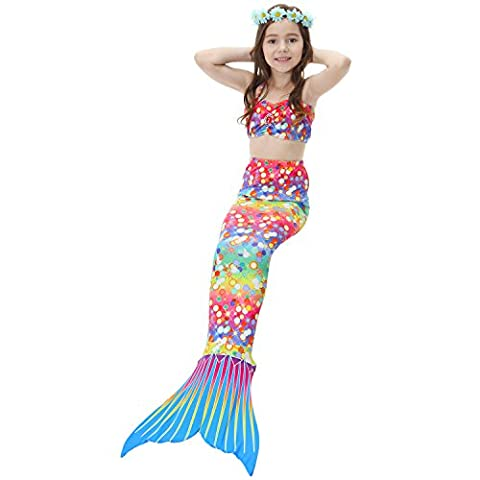 Motif Costume Mermaid - 3 Pièces Maillot de Bain Princesse Queue