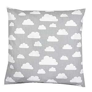 TupTam Kissenhülle Dekorativ Gemustert Dekokissen Baumwolle, Farbe: Grau Weiße Wolken, Größe: 80x80 cm