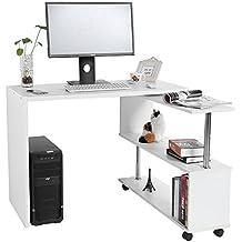Mesa de ordenador en forma de L, Mueble de escritorio con estantería de almacenamiento giratorio