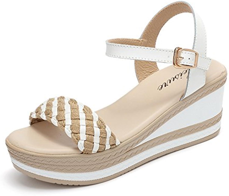 HAIZHEN Frauenschuhe Weiß/Blau/Gelb Weiblicher Sommer Woven Sandalen Fashion High Heels s Tudent Sandalen (6.5cmö
