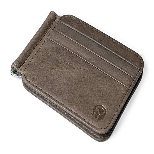 Songjuan fermasoldi in pelle all'ingrosso fermasoldi in metallo da uomo sottile fascetta piegata per soldi caso di carte di credito fermasoldi taschino per carte, grigio scuro