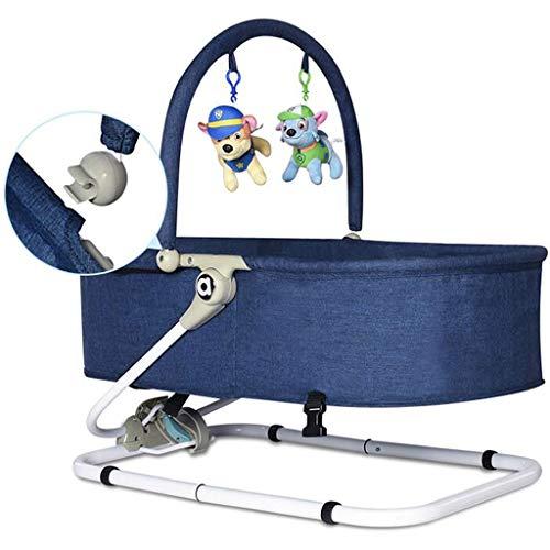 Portable Rocking Chair Iron Lazy Man Washable Folding Sleepy Lying Basket Appease Swing 3 Color 66cm*41cm MUMUJIN (Color : Blue)  MUMUJIN