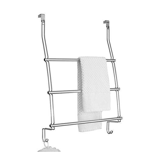 mDesign Türgarderobe - Handtuchhalter - ohne Bohren über der Tür montierbar - mit 3 Stangen für Handtuch, Pullover oder Jacken - perfekt auch als Flurgarderobe