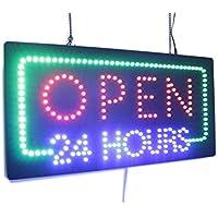 """Open 24 ore con scritta """"Super Bright LED di alta qualità, con scritta"""" Store-Targa, cartello da visita, finestre """""""
