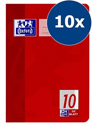 OXFORD 100050382 Schulheft Schule 10er Pack A5 Lineatur 10 - kariert mit Rand 32 Blatt rot 10 Oxford