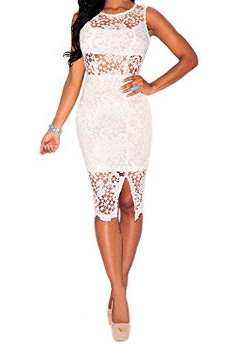 Femmes Sexy sans manches Backless Mesh Lace Front de Split Clubwear Robe moulante Blanc