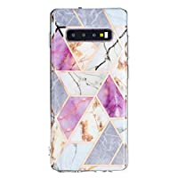 Mylne Marble Case for Samsung Galaxy S10 Plus,Bling Electroplated Phone Cover Glossy Flexible Soft Rubber Silicone Bumper Protective Shell For Girls,Purple White