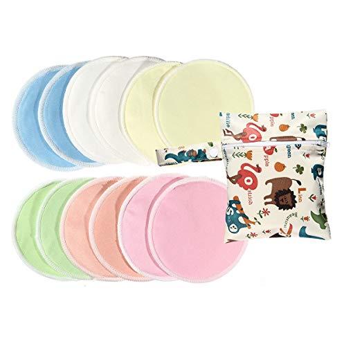 FOONEE Almohadillas De Bambú Orgánicas Lavables para Lactancia, 12 Pack Almohadillas De Lactancia De Algodón Suave Reutilizable con Bolsa De Almacenamiento, Duchas De Bebés
