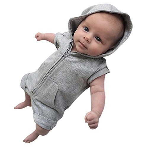 Sunnywill Baby Bekleidung Baby Jungen Mädchen Kleidung mit Kapuze Strampler Overall Sommer Outfits (Gray, 12 monat) (Mit Deutsch-shorts Hosenträger)