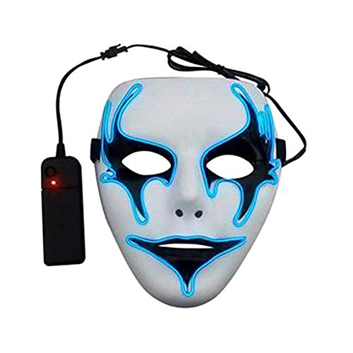 Starall LED Luminous Blinkende Gesichtsmaske Partei Leuchten Tanz Halloween Cosplay Masken Supplies (blau)