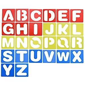 4 Zoll Schriftzug Schablone, Alphabet und Zahlen Schablonen Set Kunststoff Buchstabe Schablonen für lernen, Malerei, Scrapbooking und DIY Handwerk ()