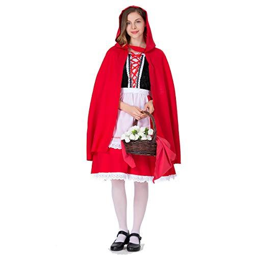 Halloween Cosplay Kostüm Adult Cosplay Rot Rotkäppchen Prinzessin Kleid Mit Mantel Kostümfest Kostüm Geeignet Für Karneval Thema Parteien,Red,M (Dead 118 Kostüm)
