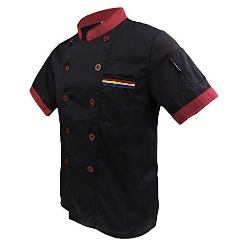 Double Breasted Mantel Chef (MagiDeal Männer Frauen Kochjacke kochbekleidung halbarmM-XXXL Bäckerjacke Bäcker Imbiss Grill SCHWARZ WEISS farbe - Schwarz, L)