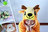 Honeystore Jumpsuit Sika-Hirsch Fasching Halloween Kostüm Sleepsuit Cosplay Pyjama Schlafanzug Erwachsene Unisex Tier Onesize L -