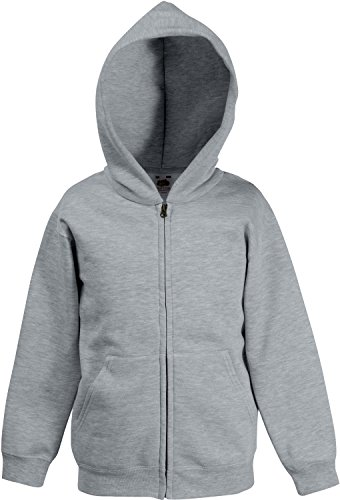 Fruit of the Loom: Kids Hooded Sweat Jacket 62-045-0, Größe:116 (5-6);Farbe:Heather Grey (Hooded Grey Sweat)