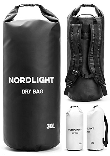Nordlight Packsack wasserdicht Dry Bag für Kayak, Kanu, Segeln, Angeln, Strand und Trekking, Seesack wasserdicht klein (Schwarz, 30L)