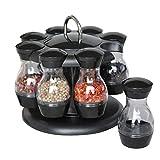 Diuspeed rotierende Gewürzflasche, 8 in einer Gewürzflasche 8 PCS drehendes Gewürzregal-Glas-Gewürzflasche-Set für Küche