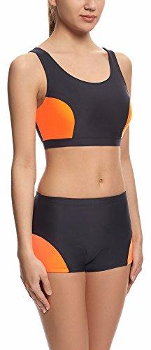 Merry Style Damen Sport Bikini Set Modell S1LL Schwarz/Neonorange (2154)