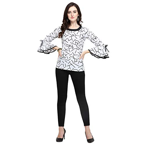 J B Fashion Women's Regular fit Top (D-212-S_White_Small)