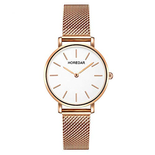 Damenuhren mit Roségold Mesh-Band, Nail-Skala Klassisch Elegant Armbanduhren, Weißes Zifferblatt