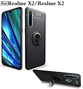 Designerz Hub® Realme XT/Realme X2 Sleek Rubberized Case with Chrome Plating Ring Stand Back Cover Case Designed for Realme XT/Realme X2 - (Black)