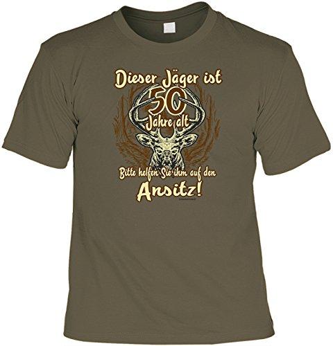 Fun Shirt - Geschenk zum 50. Geburtstag - Dieser Jäger ist 50 Jahre alt - Im SET mit gratis Mini T-Shirt