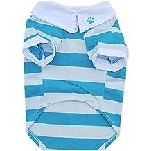 Para la ropa del animal doméstico de la solapa de la raya del algodón,RETUROM la moda camiseta del perro ropa de la solapa de la raya del algodón animal doméstico del perrito ropa para perros (S, Azul)