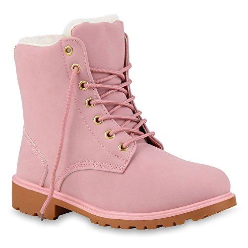 Worker Boots Warm Gefütterte Damen Herren Stiefeletten Knöchelhohe Stiefel Zipper Kunstfell Schnürer Outdoor Schuhe 124555 Rosa 38 Flandell