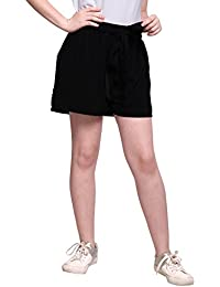 Smarty Pants Women Black Solid Shorts Waist Belt (SMSO-30A)