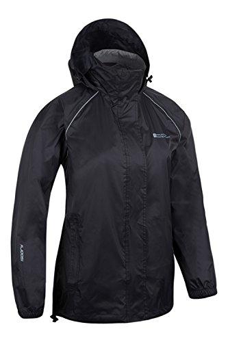 Mountain Warehouse Pakka wasserdichte Damenjacke zusammenfaltbare Regenjacke Windjacke Kapuze Tragebeutel Camping Outdoor Schwarz DE 38 (EU 40)