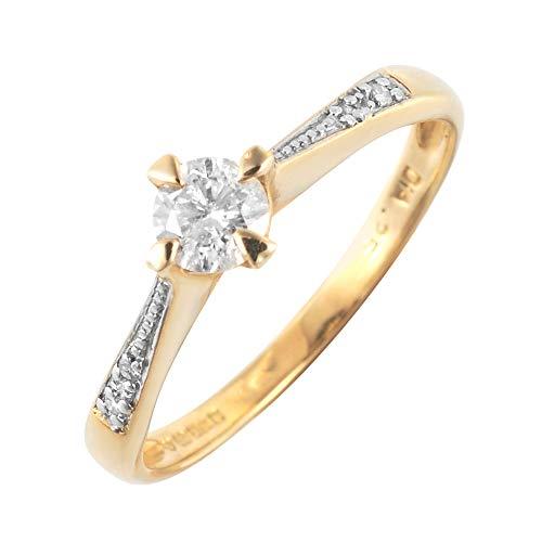 Damen-Verlobungsring 9 Karat (375) Gelbgold Gr. 52 (16.6)  5 Diamanten 145R0167-01/9AM-L