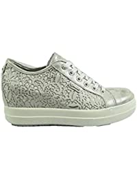 db6a29dd9b8972 IGI&CO 3157022 Sneakers Zeppa Donna con Rialzo Interno Argento Pelle