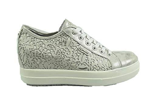 Igi&co 3157022 sneakers zeppa donna con rialzo interno argento pelle