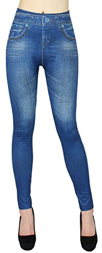dy_mode Thermo Leggings Damen/Thermo Jeggings mit angeraute Innenseite Damen Thermo Leggins - Gr. 36-42 - WL020-023 (38/40 - M/L, WL033-Jeansblau)
