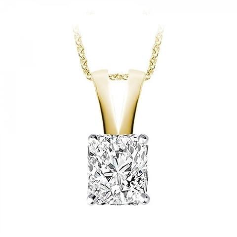0.48 Carat D/VS1 Radiant Certified Diamond Solitaire Pendant in 18k Yellow Gold