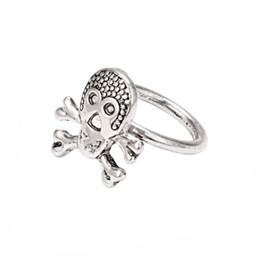 BESTOYARD Piraten Ring mit Totenkopf, Vintage Fingerring Schmuck kreative Geschenke für Freunde (Silber)