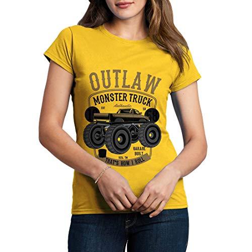 C408WCNTY Damen T-Shirt Outlaw Monster Truck Vehicles Big Foot Bigfoot Diesel Power Ultimate Crush World League Racing Team(Medium,Yellow) -