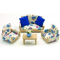 Sylvanian Families - Salón para casa de muñecas (sofá, mesa de café y sillones)