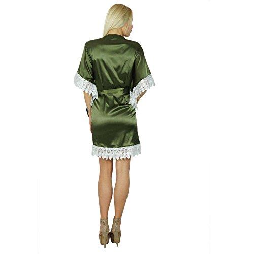 Bimba femmes Kimono à manches courtes en satin Robe Préparation mariée demoiselle d'honneur personnalisé Robe en dentelle Coverup Vert