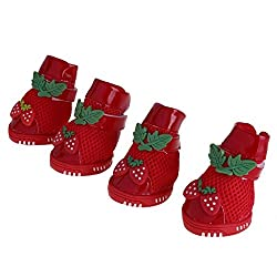 As shown, 03 : 4 Pcs/Sets Puppy Pets Doll Shoes Mesh Glue Bottom Fashion Strawberry Decor Dog Casual Dog Shoes Pet Slip-resistant Dog Shoes