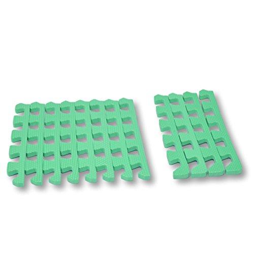 Bordes rectos para alfombra de goma EVA. 12 piezas. Verde.