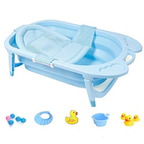likecao Faltende Badewanne, Tragbare Badewanne Babybadewanne, Beweglicher Kinderpool, Säuglingsdick Faltbares Duschebassin Mit Weichem Kissen, 82 * 50 * 23cm (Farbe : Blue+Bath net)