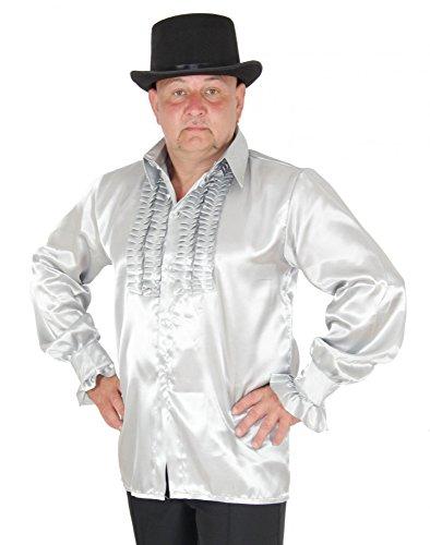 Foxxeo Rüschenhemd Silber Herren silbernes Hippie Hemd 70er -