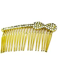 Elite Models (France) Prestige Series Back Hairpin / Hair Ornament / Slde Pin / Hair Piece / Side And Back Comb For Women ( Gold ) | Latest Designs Imported Party Wear Girls Accessories, Designer Decoration Clips, New Style Grips, Jewelry Pins To Tie Up Long or Short Hairs